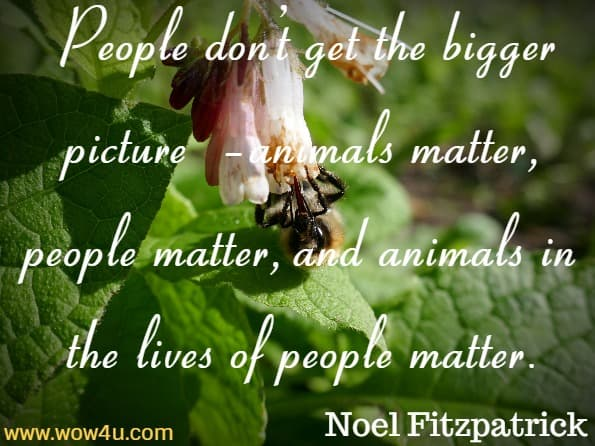 But mostly it's because people don't get the bigger picture – animals matter, people matter, and animals in the lives of people matter. Noel Fitzpatrick, Listening To The Animals