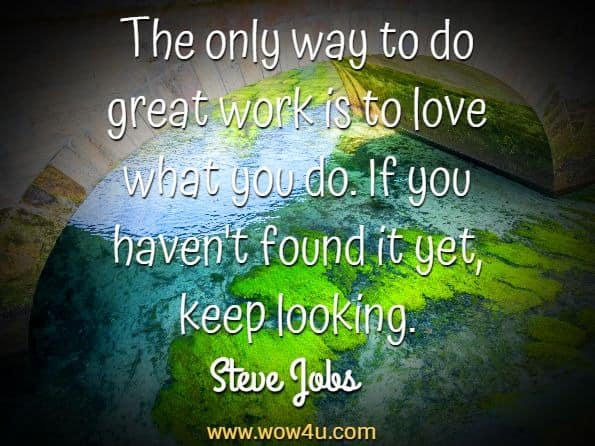The only way to do great work is to love what you do.  If you haven't found it yet, keep looking. Steve Jobs