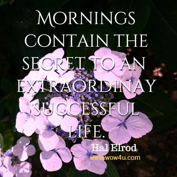 Mornings contain the secret to an extraordinarily successful life.  Hal Elrod, The Miracle Morning for Addiction Recovery