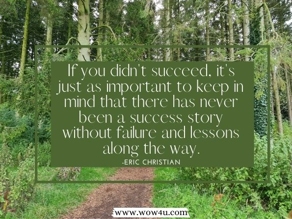 If you didn't succeed, it's just as important to keep in mind  that there has never been a success story without failure and lessons  along the way.     Eric Christian, Introvert