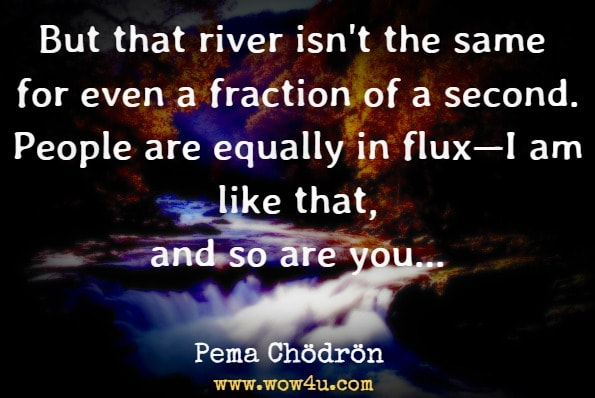 But that river isn't the same for even a fraction of a second. People are equally in flux—I am like that, and so are you. Our thoughts, emotions, molecules are continually changing. Pema Chödrön, Taking the Leap: