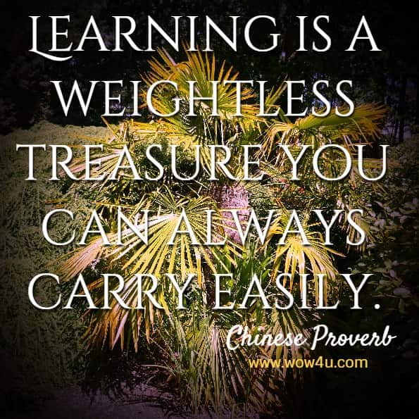 Learning is a weightless treasure you can always carry easily. Chinese Proverb