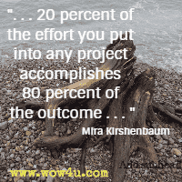 . . . 20 percent of the effort you put into any project accomplishes 80 percent of the outcome. . . Mira Kirshenbaum