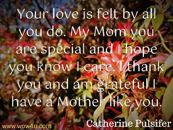 Your love is felt by all you do. My Mom you are special and  I hope you know I care. I thank you and am grateful I have a Mother like you. So this Christmas time may God bless you. Catherine Pulsifer