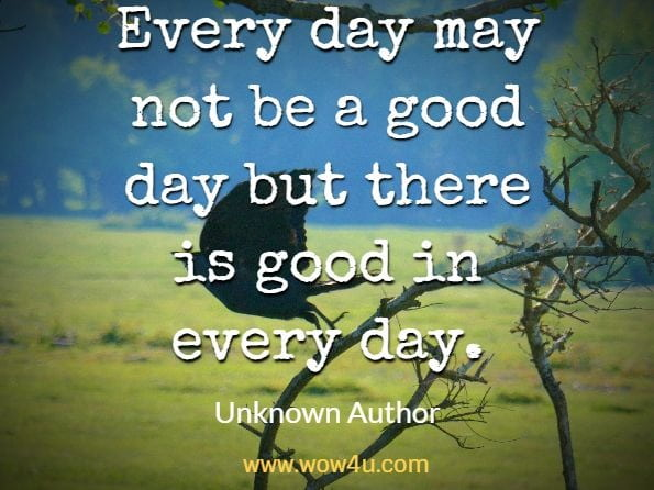 Every day may not be a good day but there is good in every day. Author Unknown