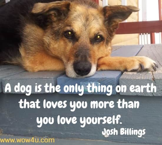 A dog is the only thing on earth that loves you more than you love yourself. Josh Billings
