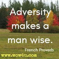 Adversity makes a man wise.  French Proverb