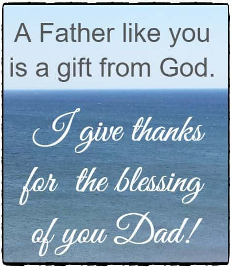 A Father like you is a gift from God.  I give thanks for   the blessing of you Dad!