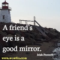 A friend's eye is a good mirror. Irish Proverb