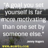 A goal you set yourself is far more motivating than one set by someone else. Jenny Rogers