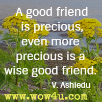A good friend is precious, even more precious is a wise good friend. V. Ashiedu