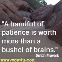 A handful of patience is worth more than a bushel of brains. Dutch Proverb