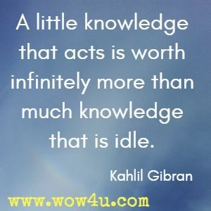 A little knowledge that acts is worth infinitely more than much knowledge  that is idle. Kahlil Gibran