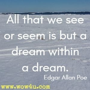 All that we see or seem is but a dream within a dream.  Edgar Allan Poe