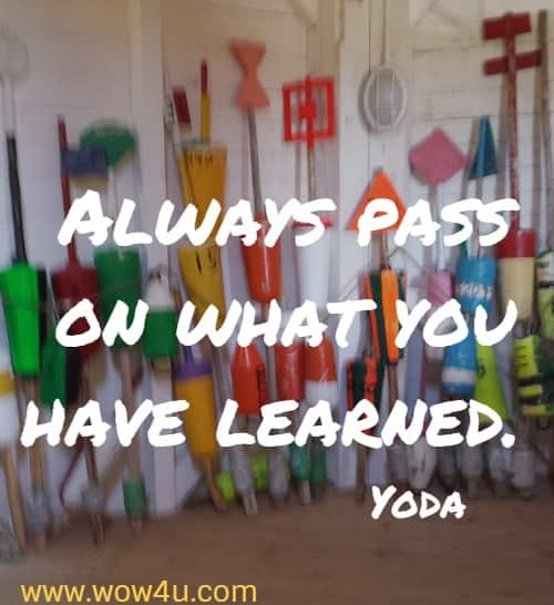 Always pass on what you have learned. Yoda