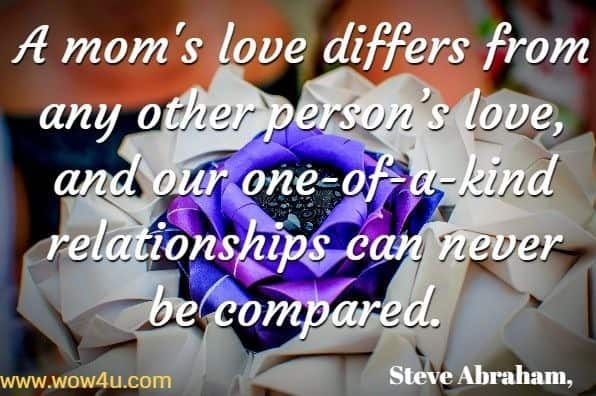 A mom's love differs from any other person's love, and our one-of-a-kind relationships can never be compared. Steve Abraham, Supersonic Mom Quotes