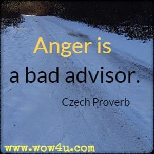 Anger is a bad advisor. Czech Proverb