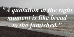 A quotation at the right moment is like bread to the famished. Words of Encouragement