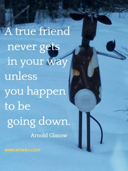 A true friend never gets in your way unless you happen to be going down. Arnold Glasow