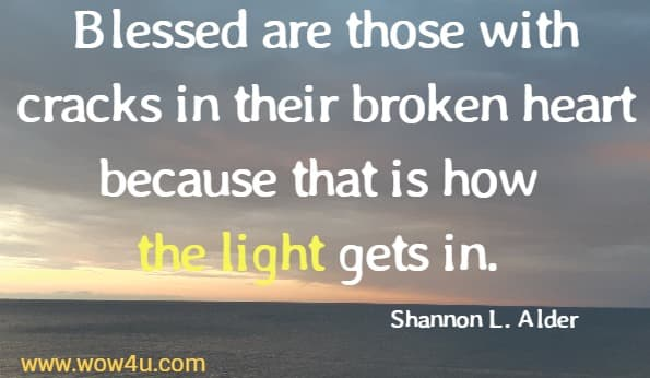 Blessed are those with cracks in their broken heart because that is how the light gets in. Shannon L. Alder