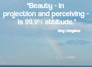 Beauty - in projection and perceiving - is 99.9% attitude. Grey Livingston