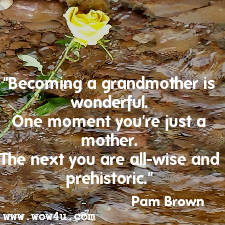 Becoming a grandmother is wonderful. One moment you're just a mother.  The next you are all-wise and prehistoric. Pam Brown