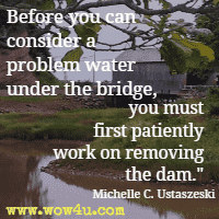 Before you can consider a problem water under the bridge, you must first patiently work on removing the dam. Michelle C. Ustaszeski