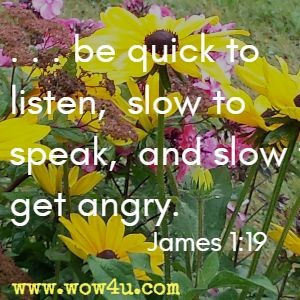 . . . be quick to listen, slow to speak, and slow to get angry. James 1:19