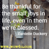 Be thankful for the small joys in life, even in them we're blessed. Danielle Duckery