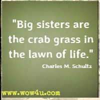 Big sisters are the crab grass in the lawn of life. Charles M. Schultz