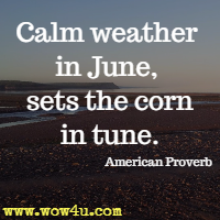 Calm weather in June, sets the corn in tune. American Proverb