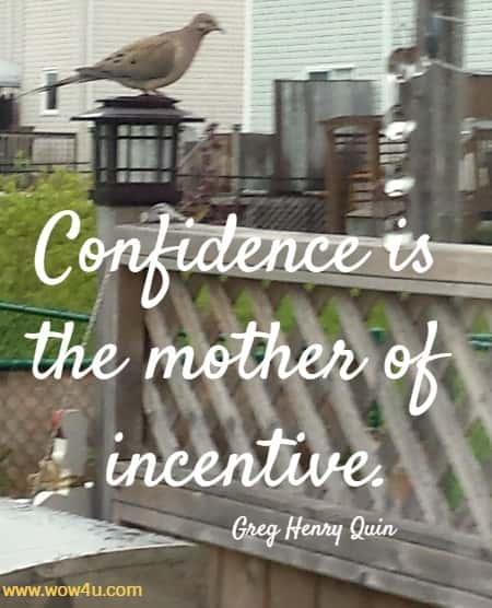 Confidence is the mother of incentive.   Greg Henry Quinn