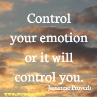 Control your emotion or it will control you. Japanese Proverb