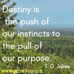 Destiny is the push of our instincts to the pull of our purpose. T. D. Jakes