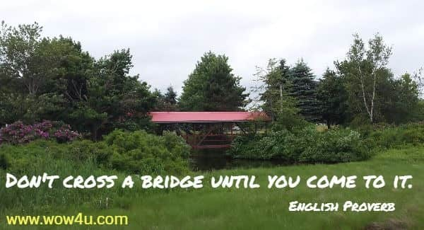 Don't cross a bridge until you come to it. English Proverbs