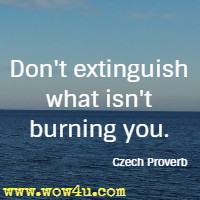Don't extinguish what isn't burning you. Czech Proverb