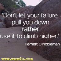 Don't let your failure pull you down rather use it to climb higher. Hernert O Nobleman