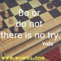 Do or do not there is no try. Yoda