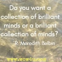 Do you want a collection of brilliant minds or a brilliant collection of minds?  R. Meredith Belbin
