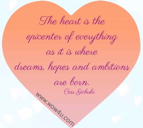 The heart is the epicenter of everything as it is where dreams, hopes and ambitions are born. Cess Gichuhi