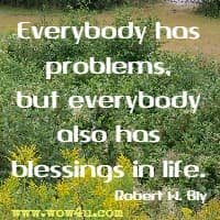 Everybody has problems, but everybody also has blessings in life. Robert W. Bly