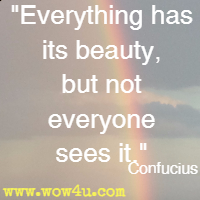 Everything has its beauty, but not everyone sees it. Confucius