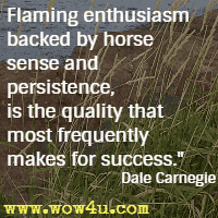 Flaming enthusiasm backed by horse sense and persistence, is the quality that most frequently makes for success. Dale Carnegie