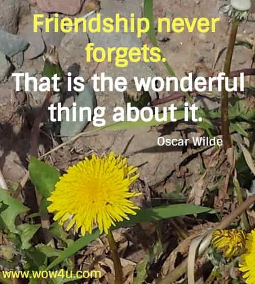 Friendship never forgets. That is the wonderful thing about it. Oscar Wilde