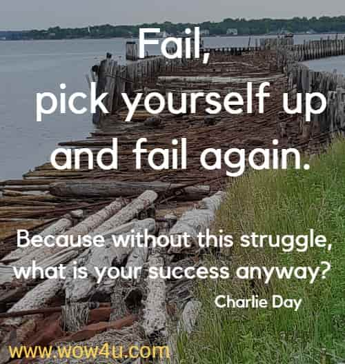 Fail, pick yourself up and fail again. Because without this struggle, what is your success anyway?  Charlie Day