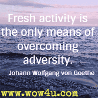 Fresh activity is the only means of overcoming adversity. Johann Wolfgang von Goethe