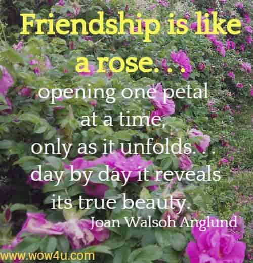 Friendship is like a rose. . . opening one petal at a time, only as it unfolds. . .  day by day it reveals its true beauty.   Joan Walsoh Anglund