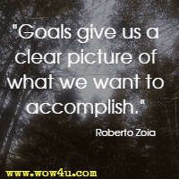 Goals give us a clear picture of what we want to accomplish. Roberto Zoia