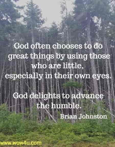 God often chooses to do great things by using those who are little,  especially in their own eyes. God delights to advance the humble.  Brian Johnston
