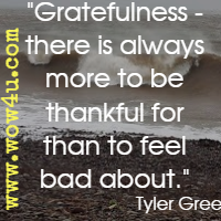 Gratefulness - there is always more to be thankful for than to feel bad about. Tyler Green